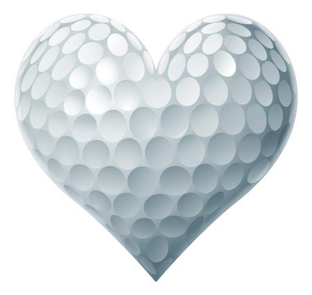 Golf Ball Heart concept van een hartvormige golfbal symbool van de liefde van golf.