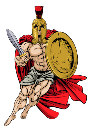 An illustration of a muscular strong Trojan or Spartan Illustration