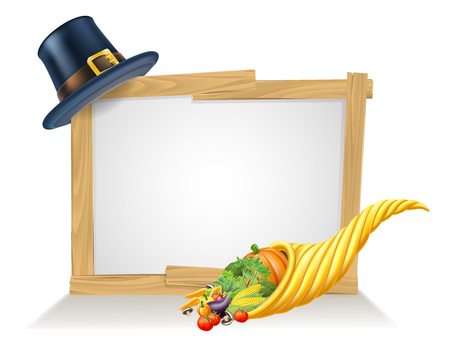 Thanksgiving sign and golden horn of plenty cornucopia full of vegetables and fruit produce with a pilgrim or puritan thanksgiving hat