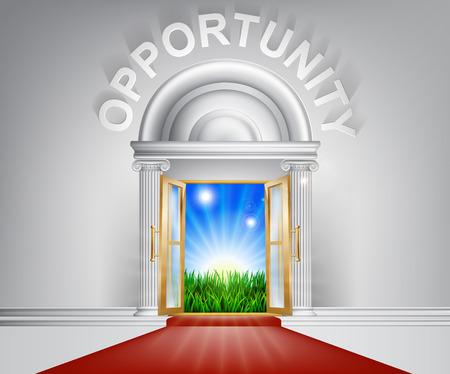 Eine Abbildung eines noblen schauenden Tür mit rotem Teppich und Opportunity darüber.