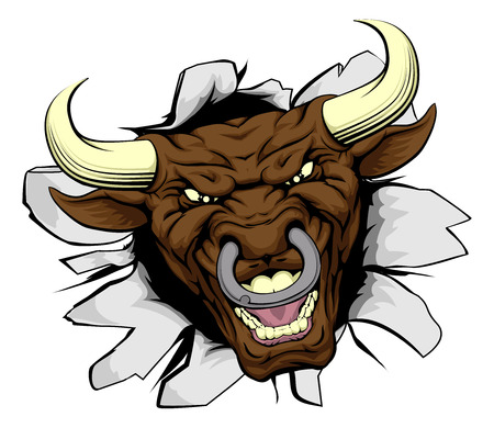 An illustration of a cartoon tough bull character face tearing out of a wall  イラスト・ベクター素材