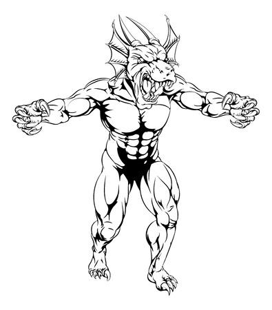 발톱과 함께 공격적인 힘든 의미의 레드 드래곤 스포츠 마스코트 캐릭터
