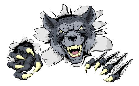 出火平均オオカミ文字またはスポーツ マスコット  イラスト・ベクター素材