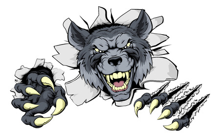 A mean wolf character or sports mascot breaking out Stock Illustratie