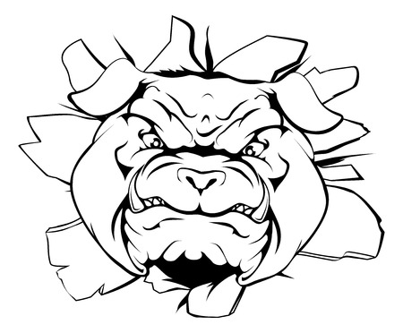 An illustration of a cartoon tough bulldog character face tearing out of a wall