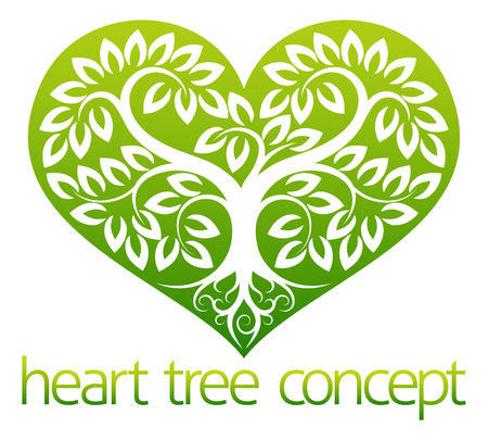 An abstract illustration of a tree growing into the shape of a heart symbol icon concept design Ilustração