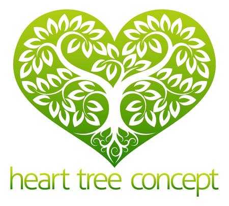 Een abstracte afbeelding van een boom groeit in de vorm van een hart symbool icoon concept ontwerp Stock Illustratie
