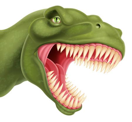 An illustration of a detailed T Rex tyrannosaurus rex dinosaur head 일러스트