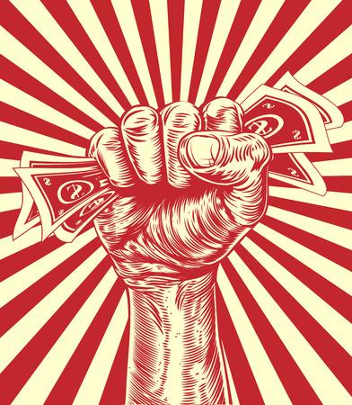 Une conception originale d'un argent de poing tenant dans un style de coupe de bois d'affiche de propagande millésime
