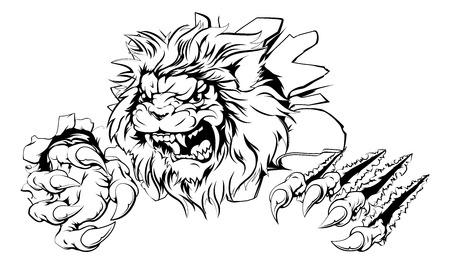 Een aanvallende leeuw met klauwen doorbraak tekening van een leeuw scheuren door de achtergrond
