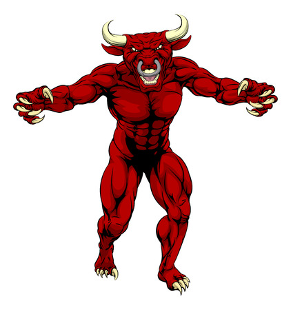 A mean tough muscular red bull sports mascot character advancing with claws out