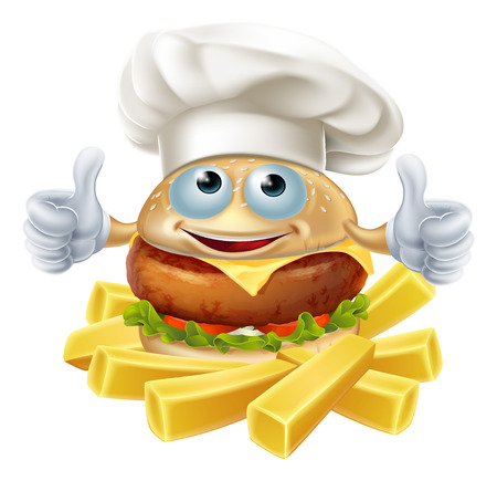 Cartoon chef burger mascot character and French fries or chips Çizim