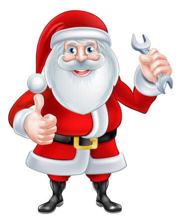 A Christmas cartoon illustration of Santa Claus holding a spanner and giving a thumbs up Illustration