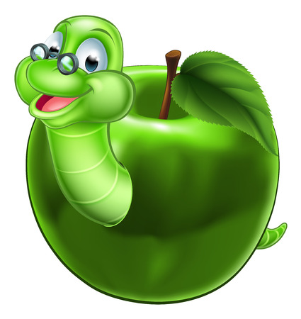 A happy cute cartoon caterpillar bookworm worm or caterpillar wearing glasses coming out of an apple
