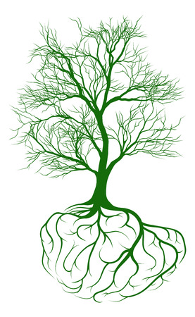 A tree growing from rooots shaped like a human brain Stock Illustratie