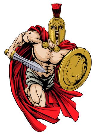 Een illustratie van een krijger karakter of sport mascotte in een trojan of Spartan