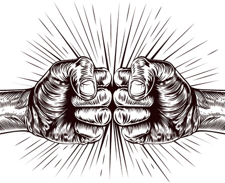 An original illustration of fists punching in a vintage wood cut style