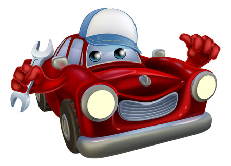 A drawing of a red cartoon car mascot wearing a baseball hat and holding a wrech while giving a thumbs up.