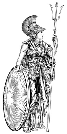 An illustration of the mythological Greek Goddess Athena holding a trident spear and shield