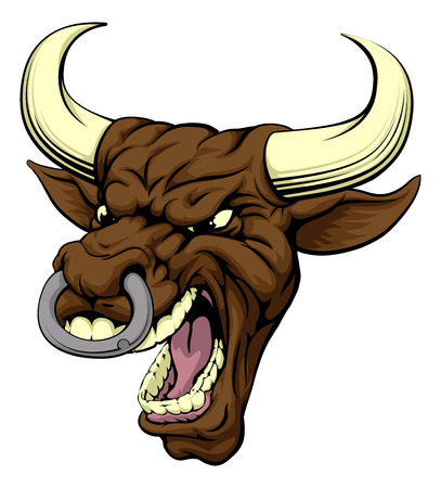 A drawing of a very angry looking bull mascot face