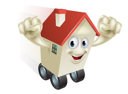 Casa concetto mossa, un personaggio cartoon casa zoom lungo su ruote