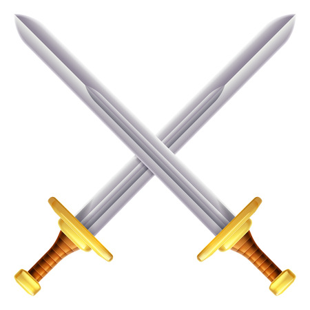 An illustration of a pair of crossed swords