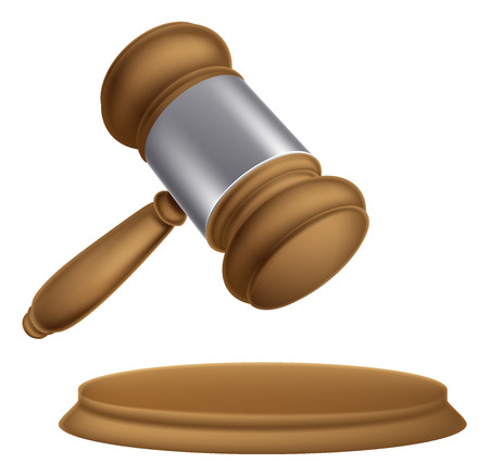 An illustration of a wooden judges court or auction sale gavel
