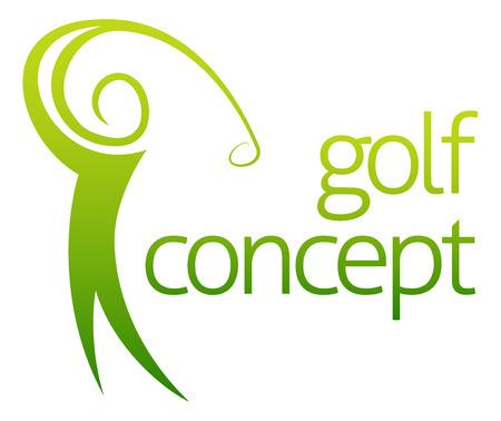 Swing de golf concepto abstracto de un campo de figura golfista que juega