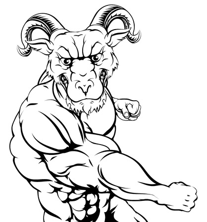 A tough muscular ram mascot character in a fight punching 일러스트