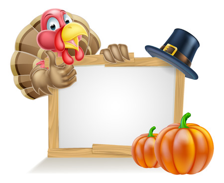 Sign with cartoon Thanksgiving turkey bird with a pilgrim or puritan thanksgiving hat and pumpkins Vettoriali
