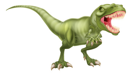 An illustration of a fierce tyrannosaurs rex dinosaur roaring Ilustracja