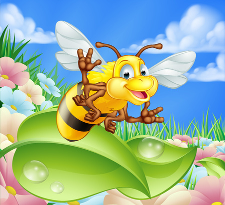 An illustration of a cute cartoon bee character in a summer meadow with flowers