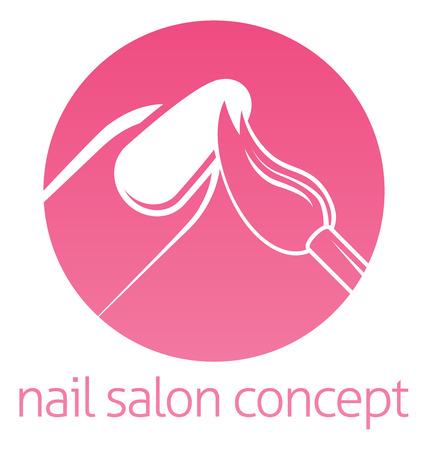 Nail tecnico, nail bar o salone manicurist concetto di un chiodo che è dipinta con un pennello Archivio Fotografico - 41834634