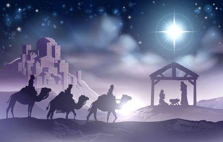 Traditional Christian Christmas Nativity Scene of baby Jesus in the manger with Mary and Joseph in silhouette with wise men Ilustração