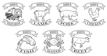 A set of 100 percent food icons, packaging labels or menu illustrations for beef chicken fish pork lamb seafood and vegetarian options