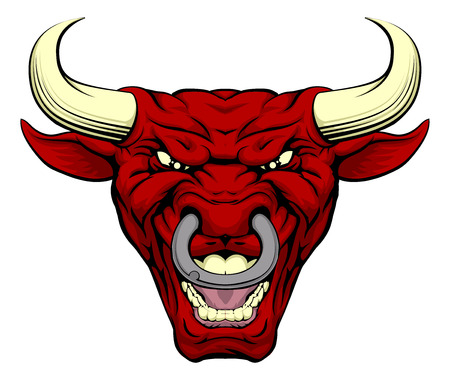 An illustration of a cartoon tough red bull character face