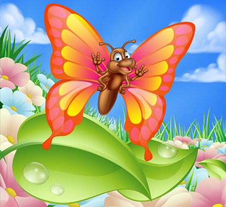 An illustration of a cute cartoon butterfly character in a summer meadow with flowers