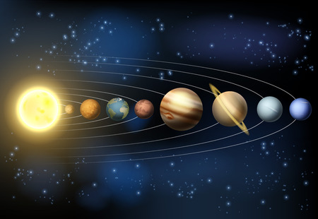 An illustration of the planets of our solar system orbiting the sun in outer space.