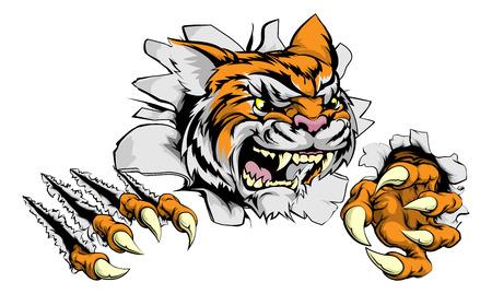 A tough tiger animal sports mascot breaking through a wall Stock Illustratie
