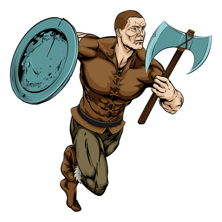 An illustration of a tough looking warrior mascot running with axe and shield