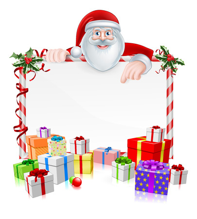Santa Christmas Sign with cartoon Santa peeking over a sign with wrapped presents and Christmas holly 일러스트