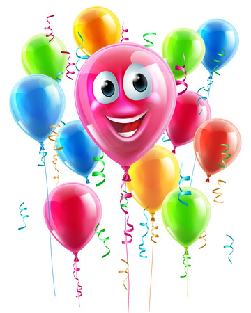 An illustration of a happy cute balloon cartoon character with lots of other balloons in the background