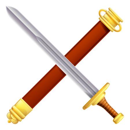 Een illustratie van een gekruiste zwaard en schede