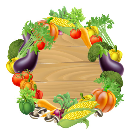 A wooden sign background surrounded by a circle border of fresh fruit and vegetables food produce