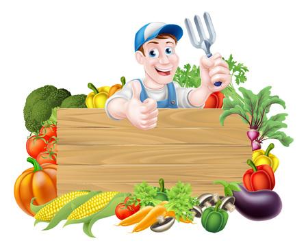 Plantaardige tuinman stripfiguur teken. Een cartoon tuinman die een tuin vork tuinieren hulpmiddel boven een houten bord, omgeven door verse groenten