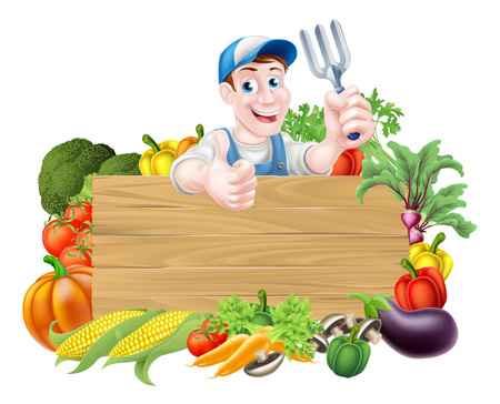 Vegetable gardener cartoon character sign. A cartoon gardener  holding a garden fork gardening tool above a wooden sign surrounded by fresh vegetables