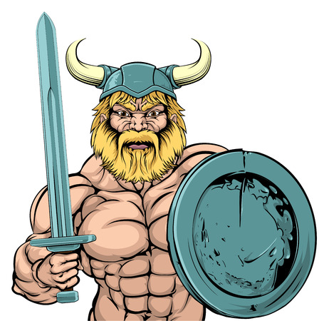 An illustration of a tough looking Viking Warrior mascot with sword and shield Illustration