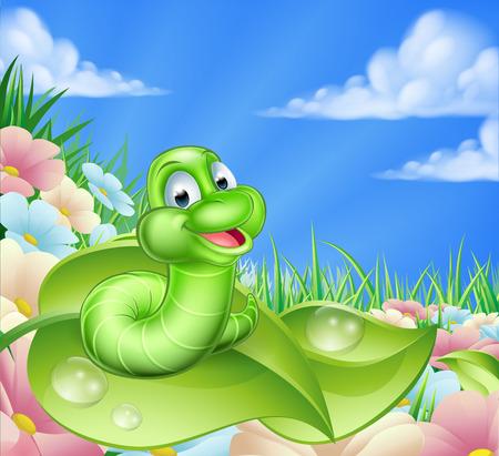 Una ilustración de un personaje de dibujos animados lindo oruga en un prado de verano con flores