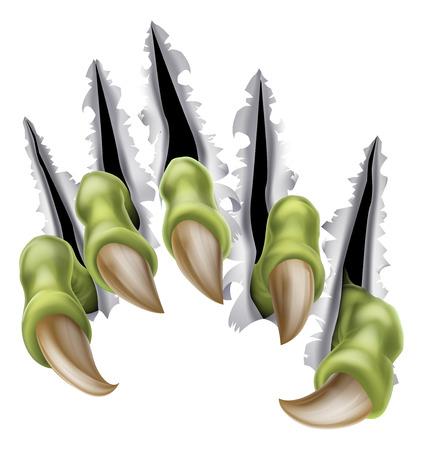 Une illustration d'une rupture de la main monstre de griffe, de déchirer à travers un mur ou en métal