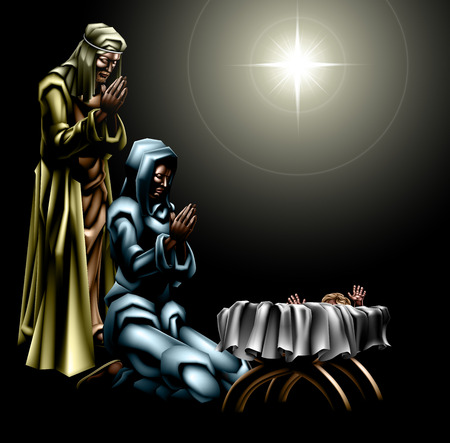 Christian Christmas Nativity Scene of baby Jesus in the manger with Mary and Joseph with the star above Illusztráció